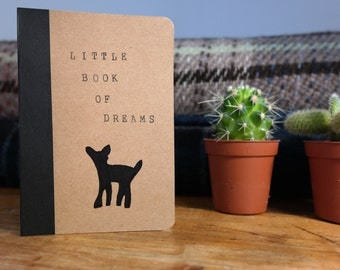 Little Book of Dreams. Hand-stamped Brown Unruled Notebook, with Fawn Design.
