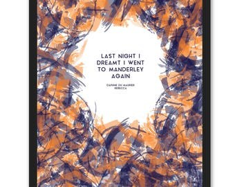 Daphne Du Maurier Quote -Rebecca - Last Night I Dreamt of Manderley (Navy & Orange)