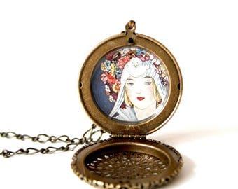 Handmade Locket Necklace, Brass Locket, Vintage Vogue Cover Illustration
