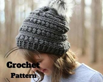 CROCHET PATTERN // Crochet beanie pattern  // Crochet hat pattern // Crochet Pom Pom hat // The Anwen Beanie