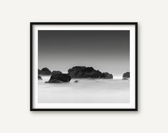 Sea Print, Ocean Print, Sea Wall Art, Sea Photo, Black and White Ocean Photography, Ocean Shore, Scandinavian Print, Nordic Print