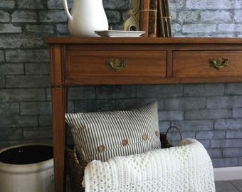 "Crocheted Blanket ~ Baby Blanket ~ Afghan ~ Throw ~ Beautiful Design ~ 58"" x 48"" ~ Color is Off-White / Vanilla / Cream ~ Handmade"