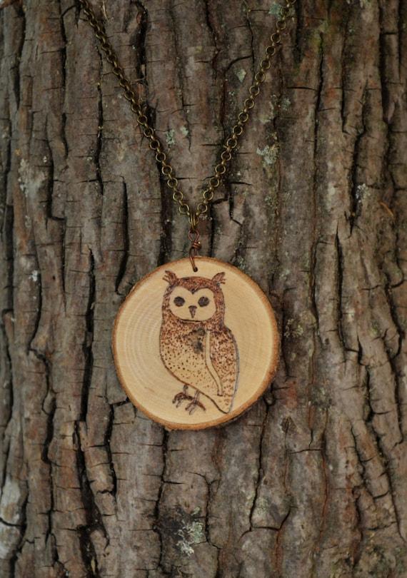Wood Burnt Owl Necklace