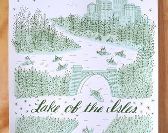 Lake of the Isles - Minneapolis, MN - 18 x 24 Screenprint
