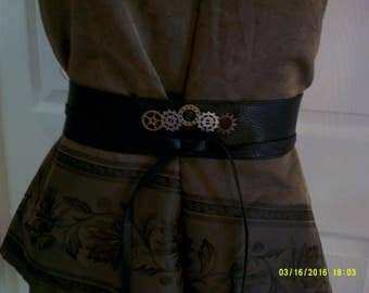 Steampunk, Faux Leather,  Wrap Belt, Steampunk Wrap Belt, Gears, Women's Belt, Women's Steampunk Belt, Steampunk Accessory, Cosplay