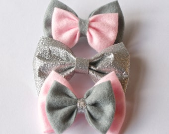 Grey And Pink With A Hint Of Sparkle Hair Bows Set