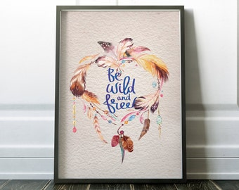 Wild and Free Feathers Watercolor Blue Digital Instant Print