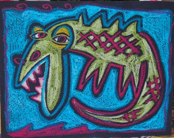 Mouthy Croc Oil Pastel Original drawing