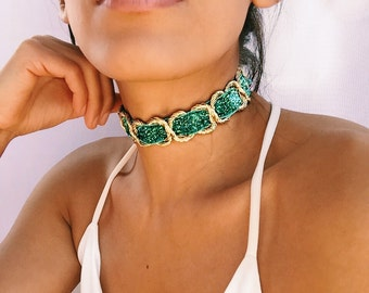 Thick green Choker/Gold Chain Choker/Thick Gold Choker/Large Choker/Choker Collar/Green Choker/Christmas Jewelry/New Years Necklaces