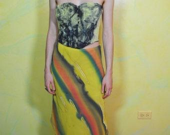 1990s Watercolor Print Asymmetrical Hem Skirt