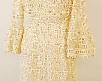 1960's Cream SHERKIN-ETTE Louis Vuitton Insired Knit Dress / Evening Dress / Mad Men / Rare Collectable Retro