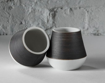 Porcelain Mugs- Black Stoneware Slip and Raw Porcelain with White Glaze- Modern Design