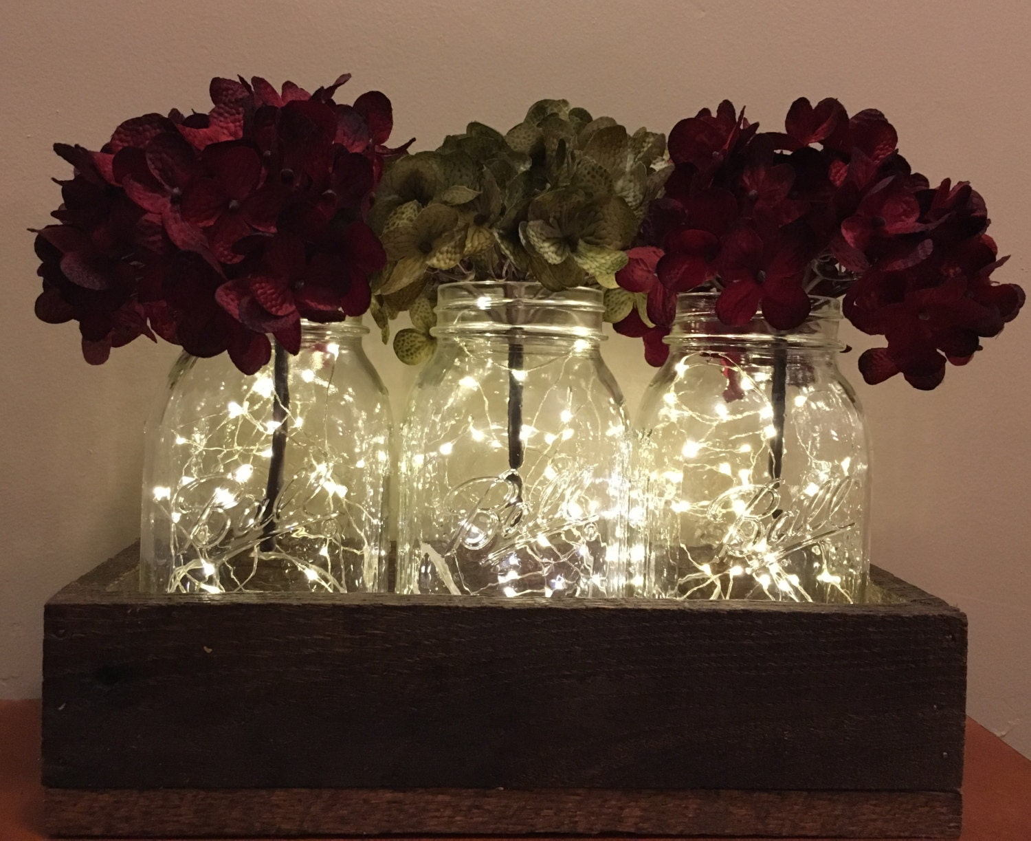Rustic mason jar christmas centerpiece