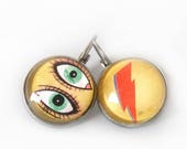 Bowie earrings, David Bowie, Thunderbolt, Lightning, Bowie Ziggy, Bowie illustration, Glass dome
