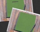 Light Green Leather Journal Planner - Digital PDF Notebooks - Pack of Two (2) - Printable PDF Notepad Bullet Journal Scrapbook
