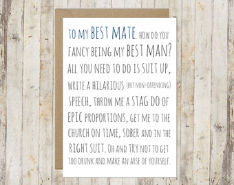Best man card // Will you be my best man card // Funny best man card // Wedding card // Awkward best man card //