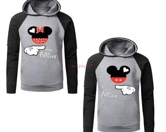 Mickey And Minnie She's Mine He's Mine Couple Raglan Hoodies Couple Matching Hoodies Mickey And Minnie Mouse Couple Hoodies
