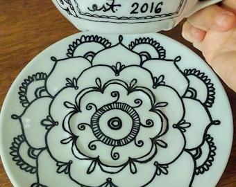 Custom teacup and saucer set - mom gift