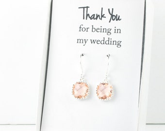 Peach Silver Earrings, Champagne Square Earrings, Blush Silver Earrings, Bridesmaid Earrings, Blush Wedding Jewelry