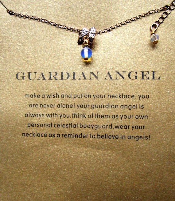 Guardian Angel Necklace with Moonstone and Gift Card/ Gold plated, Angel necklace, Guardian Angel, Wish Necklace, Guardian Angel jewellery