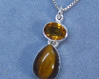 Tiger Eye & Citrine Necklace - Sterling Silver - 180909 - Free Shipping to the USA
