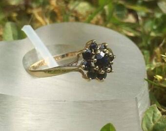Super Sapphire Flower Cluster Ring