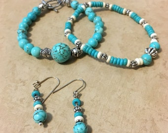 Turquoise Beaded Bracelet and Earring Set- Sterling Silver