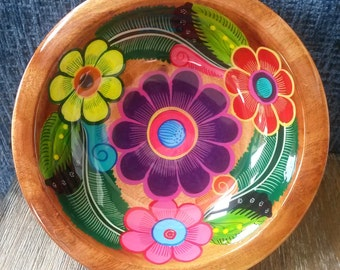 "8"" Hand Painted Mexican wooden bowl, Salad bowl, Teacher Appreciation Gift, Home décor, Mother's gift"