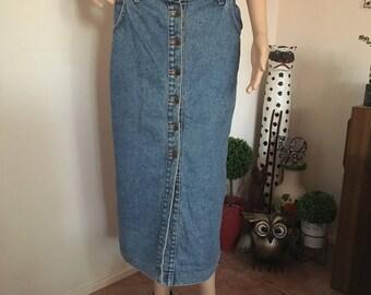 60s 70s Button-up Denim Maxi Skirt Hippie Boho Bohemian Festival Western XL Extra Large Plus Size