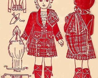 Vintage 1940's 1940 Sewing Pattern Child's Standard Scottish Highland Dress Costume Age 8 WWll SCOTLAND