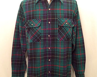 Sweet 80s FIELDMASTER Flannel / Vintage Hunting Fishing Hiking Thin Durable Acrylic FLANNEL Men's Size LARGE