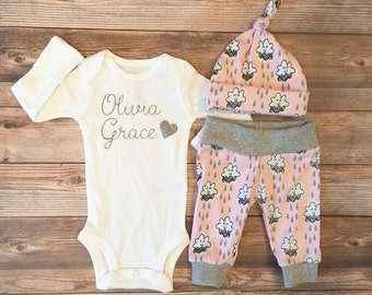 Pink Cloud Coming Home Outfit, Girl Coming Home Outfit, Girl Going Home Outfit, Pink and Gray, Newborn outfit, baby shower gift, cloud theme
