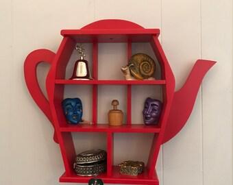 Rocking Red Wooden Teapot Wall Shelf Curio Shadow Box