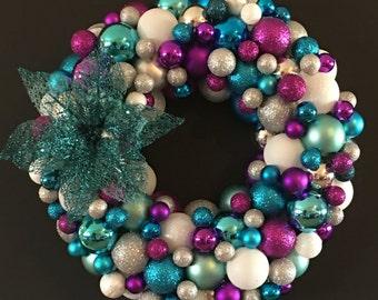 Blue Flower Christmas Ball Wreath