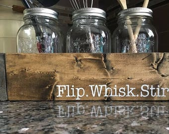 Flip whisk stir box / Kitchen decor for food lovers / Home decor for chefs / Mason jar decor for the kitchen