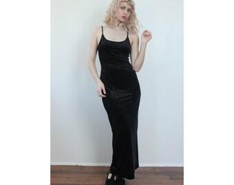 Velvet Maxi Dress Metallic // Vintage 90s Black Sparkle Spaghetti Strap Bodycon - Medium to Large