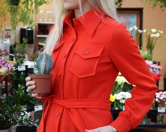 1970S Bright Red Jacket With Belt