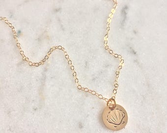Gold Seashell Necklace - Small Mermaid Pendant Necklace - Sea Shell Disc Necklace - 14k gold filled jewelry - Gift for her - dainty necklace