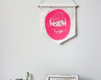 1 color wall banner - Ballerina - Cream fabric