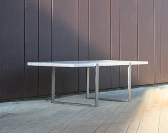 Concrete Dining Table with Steel Legs