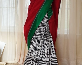 Designer Saree/Indian Silk and Cotton Sarees/Black White Green Red/Embriodery/Trendy Silk Saree blouse/Bolywood Sari/Party wear/Womens Gift