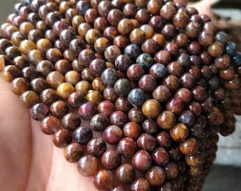 6.5mm-8mm High Grade Pietersite Bead Full Strand Pietersite Beads-High Quality Pietersite Beads-Natural Pietersite-Gemstone XY050