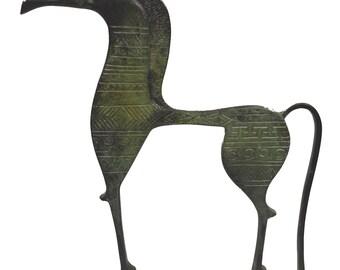 Horse statue longface with carvings ancient Greek bronze reproduction sculpture