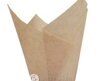 Kraft Tulip Muffin Wraps - Great Alternative to Cupcake Cases. Pack of 24.