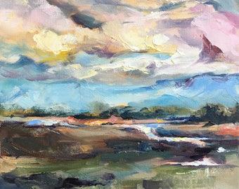 """Marsh Painting // 10""""x10"""" Coastal Landscape Oil Painting // Orginal Landscape Art"""
