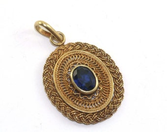 Vintage Wooden Braided Sapphire Color Crystal Gold Tone Pendant 925 Sterling Silver PD 862