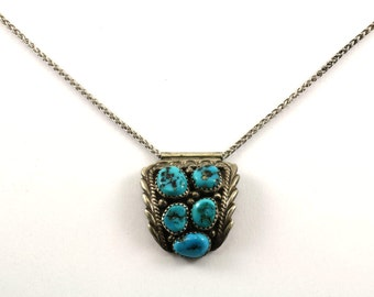 Vintage Navajo Turquoise Stone Necklace 925 Sterling Silver NC 827