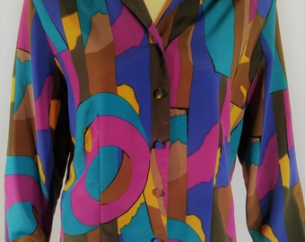 80's Women's Shirt Geo Colorblock Colorful Jewel Tone Abstract Graphic Long Sleeve Blouse Top Vintage by CHRISTIE & JILL Size 6