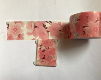 """Thick 30mm pink floral washi tape 24"""" sample"""