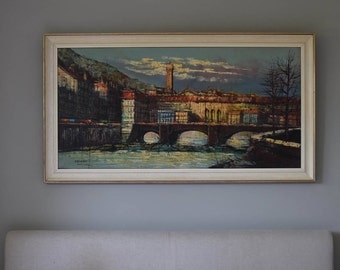 Calvan large landscape oil painting  mid century  60s
